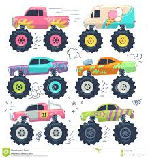 Monster Trucks. Kids Car Toys. Cartoon Vector Set Stock Vector ...