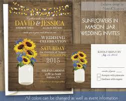 Mason Jar Sunflowers Wedding Invitations Rustic By NotedOccasions 4500