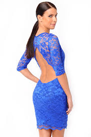 john zack faith backless lace bodycon dress in blue iclothing