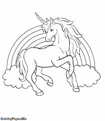 Rainbow Unicorn Coloring Page