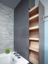bathroom with custom sliding storage unit house bathroom