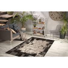 teppich modern design stein mauer boden vintage muster beige schwarz 80x150cm
