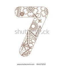 Adult Coloring Page With Number 7 Ornamental Font