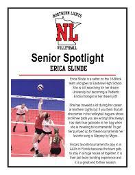 Senior Spotlight Northern Lights Junior Volleyball