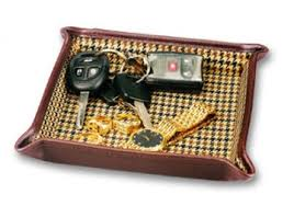 folding leather dresser valet tray