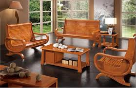 Alluring Modern Living Room Wooden Furniture Caramel Wood Wall
