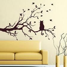 große baum und katze wandtattoo baum vinyl vogel katze aufkleber home schlafzimmer decor wandaufkleber abziehbilder 35x22 zoll