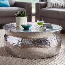couchtisch karam 75x31x75cm aluminium silber beistelltisch