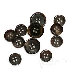 sets of refined brown black buffalo horn suit buttons made in