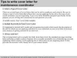3 Tips To Write Cover Letter For Maintenance Coordinator