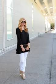 black tunic and must have white jeans haute u0026 humid