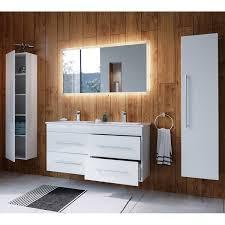 badezimmer set laos 02 weiss hochglanz inkl led spiegel mit touch funktion und keramikwaschtisch