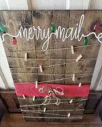 Merry Mail Painted Christmas Card Holder Rustic To Complete Your Holiday Decor