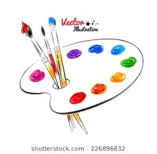 Paint Palette Hand Drawn Watercolor And Line Art Vector Illustration Isolated