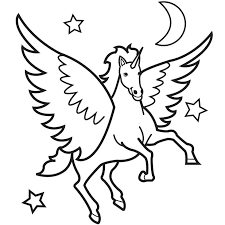 Wonderful Printable Pictures Of Unicorns Fee Flying Unicorn Coloring Pages Only Page Home Kids