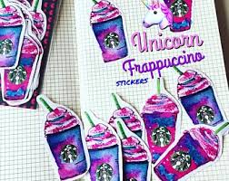 Unicorn Frappuccino Coffee Starbucks Planner Stickers Set Of 12 Illustration Watercolor Drawing Decoration Hobonichi