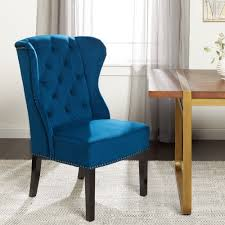 Abbyson Sierra Tufted Navy Blue Velvet Wingback Dining Chair   EBay Wingback Ding Chair White And Gray Roundhill Button Tufted Solid Wood Hostess Chairs With Amazoncom Lazymoon Beige Pattern New Pacific Direct Inc Aaron Upholstered Parson Nailhead Trim With Msp Design Show How To Recover A Richmond Vintage Tan Leather Zin Home Nail Head Accent Ramalanco Homespot Archie Pu Velvet Set Of 2