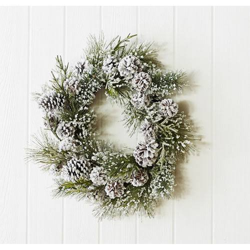 Melrose International 69407 Snowy Pine 24 in. Wreath