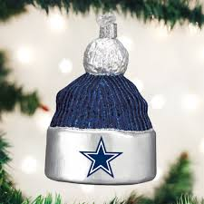 Old World ChristmasR Dallas Cowboy Football Beanie Glass Ornament