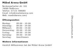 ᐅ öffnungszeiten möbel arena gmbh neckargartacher str