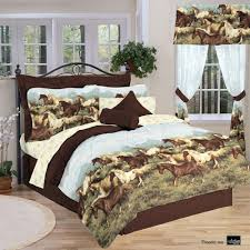 Bed Comforter Set by Amazon Com Thunder Run Horses Bed In A Bag Set Twin Home U0026 Kitchen