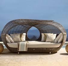 ravishing rattan materials outdoor furniture with white fabric