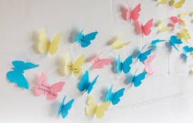 3D Sticky Notes Paper Butterfly Wall Decorations