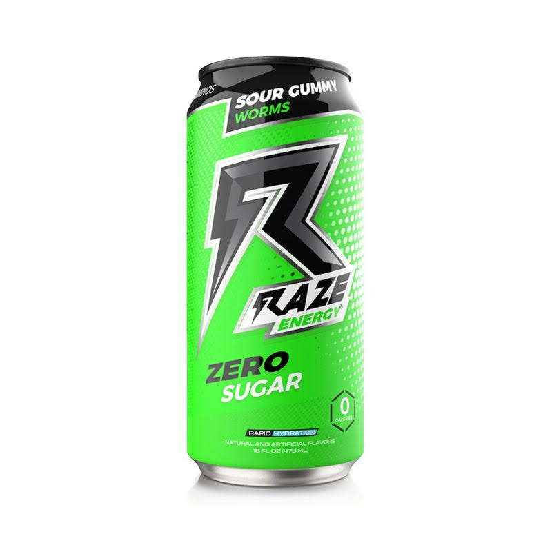 Raze Energy Drink, Zero Sugar, Sour Gummy Worms - 16 fl oz