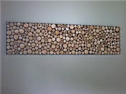Rustic Wood Sculpture Wall Art Headboard Slice Off On Black Canvas Installation Hang White