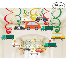 100 Cars Trucks Ebay Jiahai 30ct Colorful Transportations Buses Hanging Swirl