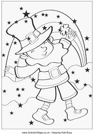 Leprechaun And Rainbow Colouring Page