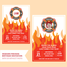 Printable Fireman Birthday Party Invitation - Merriment Design