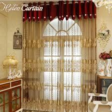 europa stil bestickt splice gold vorhänge für wohnzimmer fertig luxus vorhang für schlafzimmer sheer voile screening s04