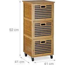 badezimmerregal holz rollwagen rollcontainer küchenregal