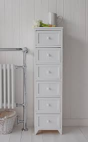 maine narrow tall freestanding bathroom cabinet with 6 drawers for