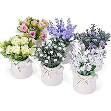 pnnp kunstblumen im topf 6 stk 7 x 14cm klein kunstpflanze künstliche pflanze mit vase outdoor indoor kunststoff gypsophila lavendel blumen