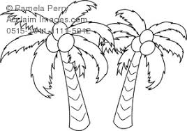 Clip Art Image Of A Coconut Palm Trees Coloring Page