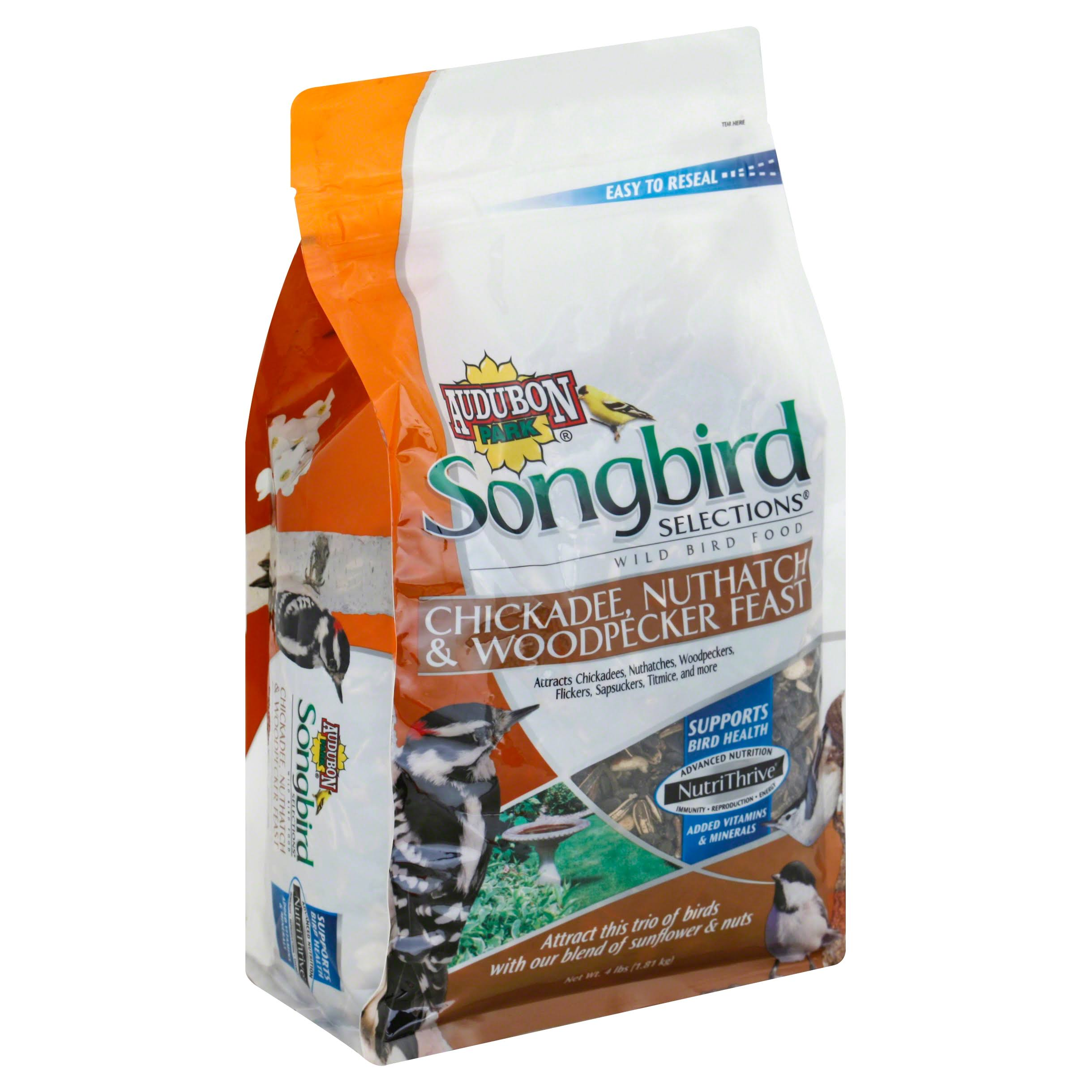 Audubon Park Songbird Selections Wild Bird Food, Chickadee, Nuthatch & Woodpecker Feast - 4 lbs (1.81 kg)