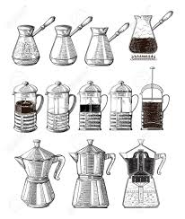 Vector Hand Drawn Illustration Set Of Coffee Preparation Pour