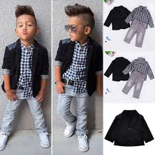 Trendy Little Boys Handsome Clothing Suit Kids Black Coat