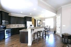 Light Cabinets Dark Floors Kitchen Wood With