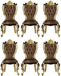 casa padrino luxus barock esszimmer stuhl set braun schwarz gold 60 x 65 x h 120 cm küchen stühle 6er set im barockstil barock esszimmer