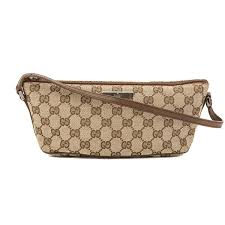 trousse de toilette gucci gucci brown leather gg monogram canvas pochette pre owned