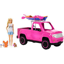 100 Pink Truck Barbie Camping Fun Doll And Sea Kayak Adventure Playset