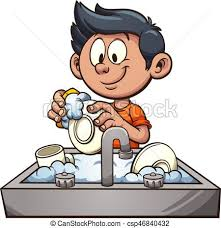 Boy washing dishes vector clip art illustration with simple