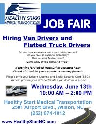 Job Fair At Healthy Start Medical Transportation | The Wilson Times Local Truck Driving Jobs Centerline Drivers Tg Stegall Trucking Co In Jacksonville Fl Lovely Pany Driver School Charlotte Nc Best Image Kusaboshicom Barrnunn Salmon Companies 5 Trucker Tips To Mtain Traction On Slippery Hills Fayetteville Old Dominion Freight Job Opportunities Drive Jb Hunt All About Find Quick Transport Solutions Hurricane Harvey Relief 8211 Truckers Need For Class A