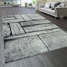 paco home teppich wohnzimmer kurzflor holz optik modern vintage grau schwarz grösse 160x220 cm