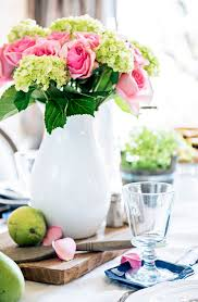 TIDBITSTWINE Dining Table Centerpiece Hydrangea And Roses