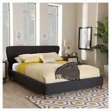 Baxton Studio Platform Bed by Camden Mid Century Modern Fabric Upholstered Platform Bed