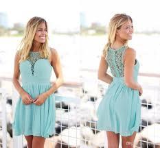 2017 mint green short country boho bridesmaid dresses crochet lace